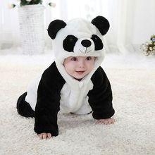 Enfants Bébé Garçons Filles Vêtements Ensemble À Manches Longues Mignon Panda One Piece Noir Coton Tenues Barboteuses Vêtements Chaud D'hiver Ensemble