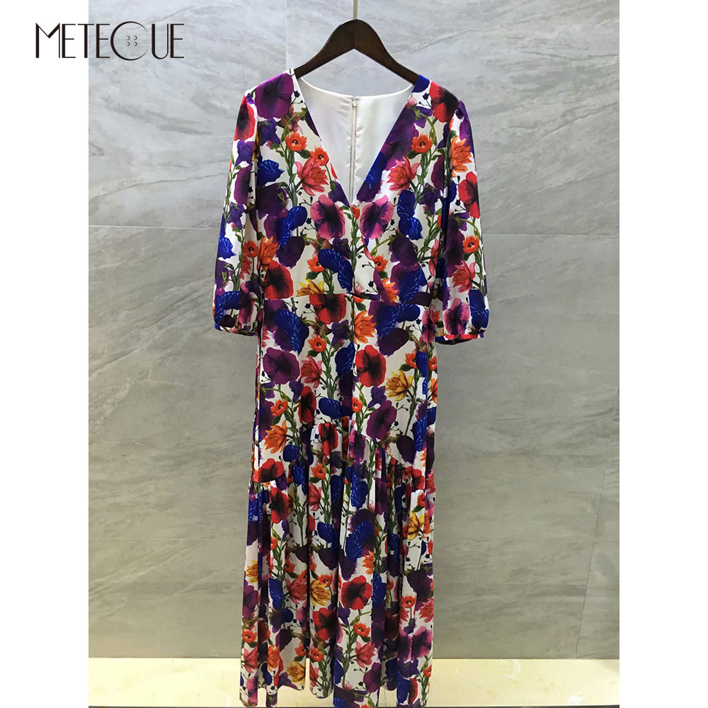 Half Sleeve Maxi Summer Dress with Sash 2019 Pre Fall Fashion V Neck Floral Dresses 2019