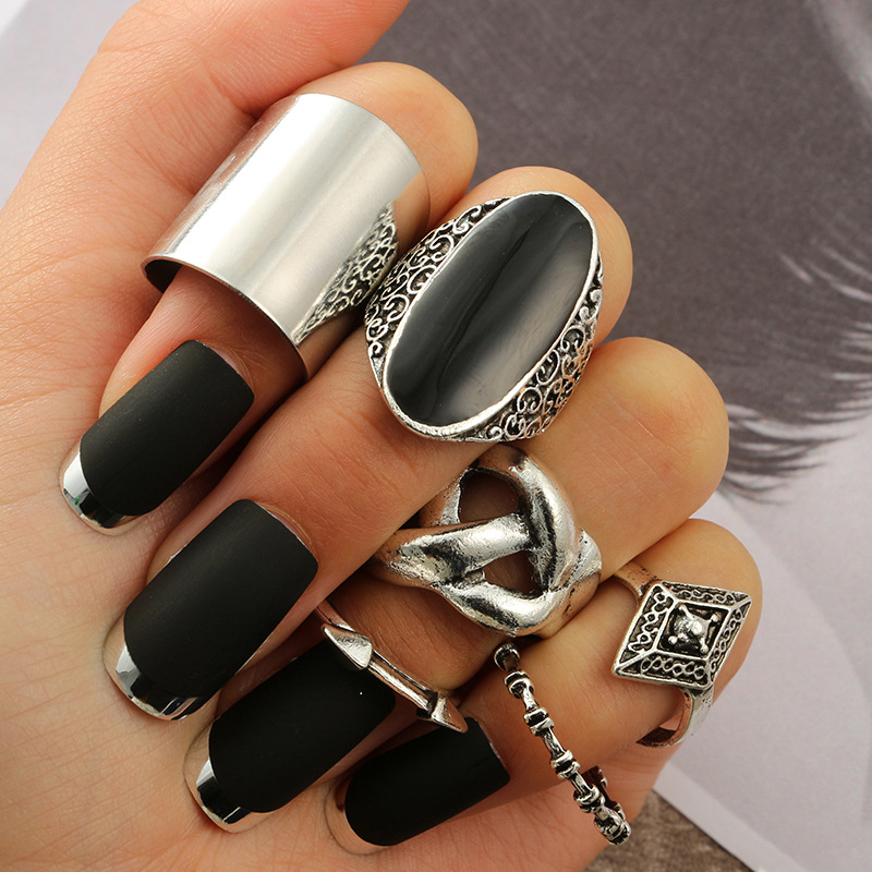 KMVEXO 6Pcs/Set Bohemian Silver Gem Knot Geometric Arrow Carved Rings Set 2019 Summer Knuckle Finger Midi Ring For Women Jewelry