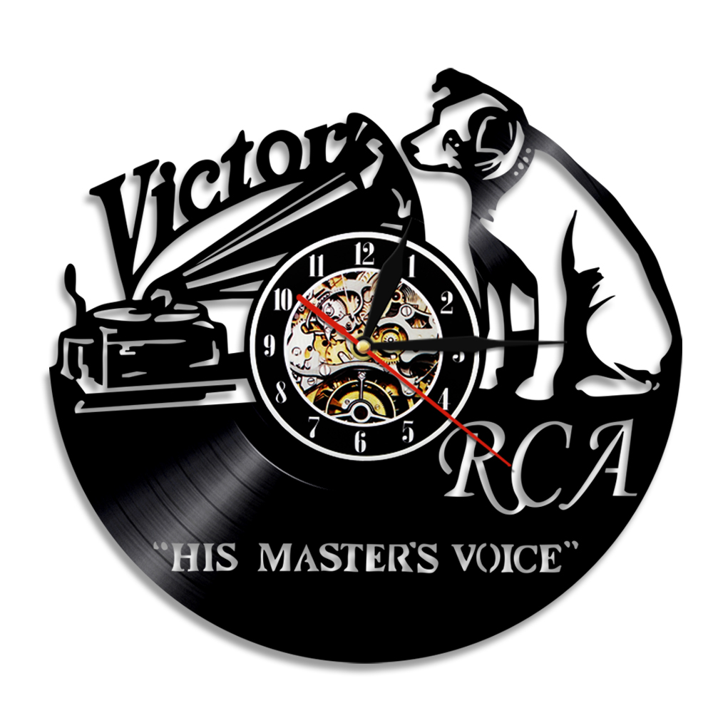 1Piece Victor RCA Vinyl Record Clock Cute Dog Design Handmade Gift Home Decor Vintage Creative Hanging Wall  Art Timepiece Clock