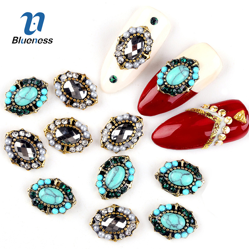 Blueness 10Pcs/lot Horse Eye Design 3D Nails Art Decorations Rhinestones For Nails Studs Accessories Manicure Jewelry DIY Tips 100pcs pack gold nail art decorations 3d metal nails studs trinket heart triangle round horse eye manicure accessories tools