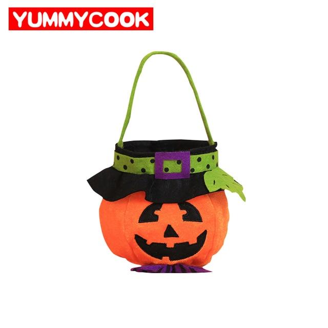 Halloween Pumpkin Gift Baskets Christmas Pendant Ornaments Foldable Non-woven Candy Chocolate Bag Home Festive