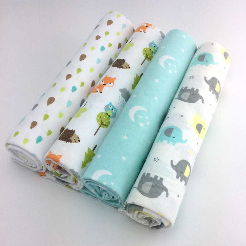 new color 4pcs/pack 100x76cm 100%cotton flannel baby blanket receiving newborn colorful cobertor baby bedsheet