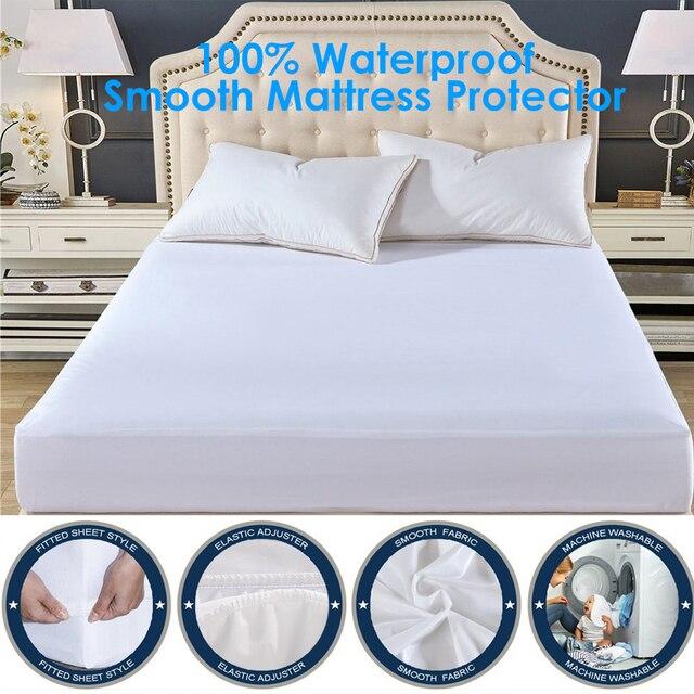 180x200cm Smooth Mattress Cover Deep Pocket 100 Waterproof Mattress