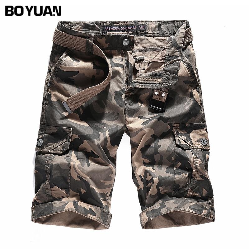 BOYUAN Mens Shorts Multi Pocket Military Shorts Male Khaki and Armygreen Camouflage Casual Summer Cotton Short Trousers GB1625B
