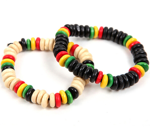 Free Shipping Men Women Jamaica Reggae Bracelet Hiphop Rock Fashion Skateboard Street Wood Beaded Colorful Rasta