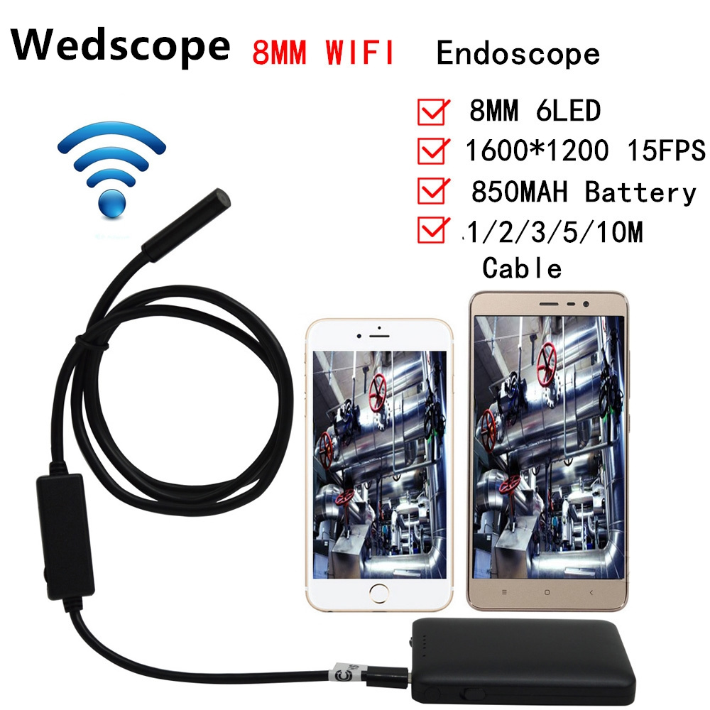 Android Wifi Endoscope 8mm Lens 1m  2m 3m 5m Cable IOS 6 LED Waterproof Iphone Endoscope Inspection Borescope Mini CCTV Camera 8mm 1m 2m 3 5m wifi ios endoscope camera borescope ip67 waterproof inspection for iphone endoscope android pc hd ip camera