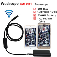 8mm Lens 1m 2m 3m 5m Cable IOS Android Wifi Endoscope 6 LED Waterproof Iphone Endoscope