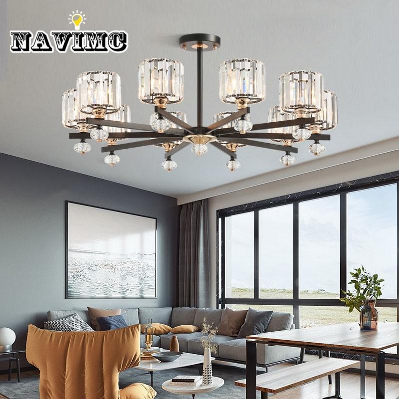 US $118.3 30% OFF|Modern Crystal Chandelier for Living Room Dining Room  Study Room Bedroom Ceiling Pendant Lamp Black Iron frame Lamp-in  Chandeliers ...