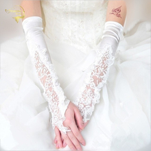 Lace bridal gloves wedding dress accessories formal long design lucy refers to ivory red black autumn paillette beading G016