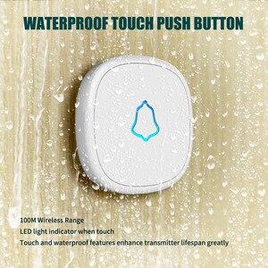 Image 2 - Fuers בית אבטחה בברכה אלחוטי פעמון חכם פעמוני פעמון אזעקת LED אור 32 שירים עם עמיד למים מגע כפתור