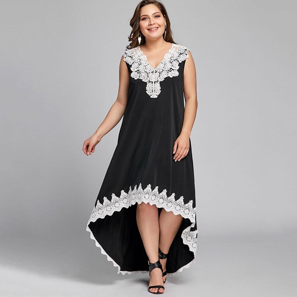 Women Sleeveless High Low Hem Plus Size Dress White Lace Print Maxi Dress  Summer Causal Beach Dress Big Size 4XL 5XL robe femme-in Dresses from ...
