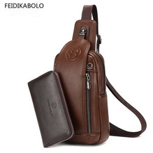Brand Men Chest Pack Single Shoulder Strap Back Bag Leather Travel Men Crossbody Bags Vintage Rucksack Chest Bag
