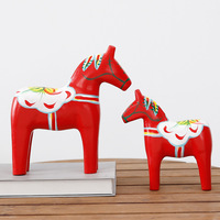 Solid Wood Rocking Horses Trojan Animals Villains Ornaments Horse Statue Wedding Decor Retro Home Decoration Accessories