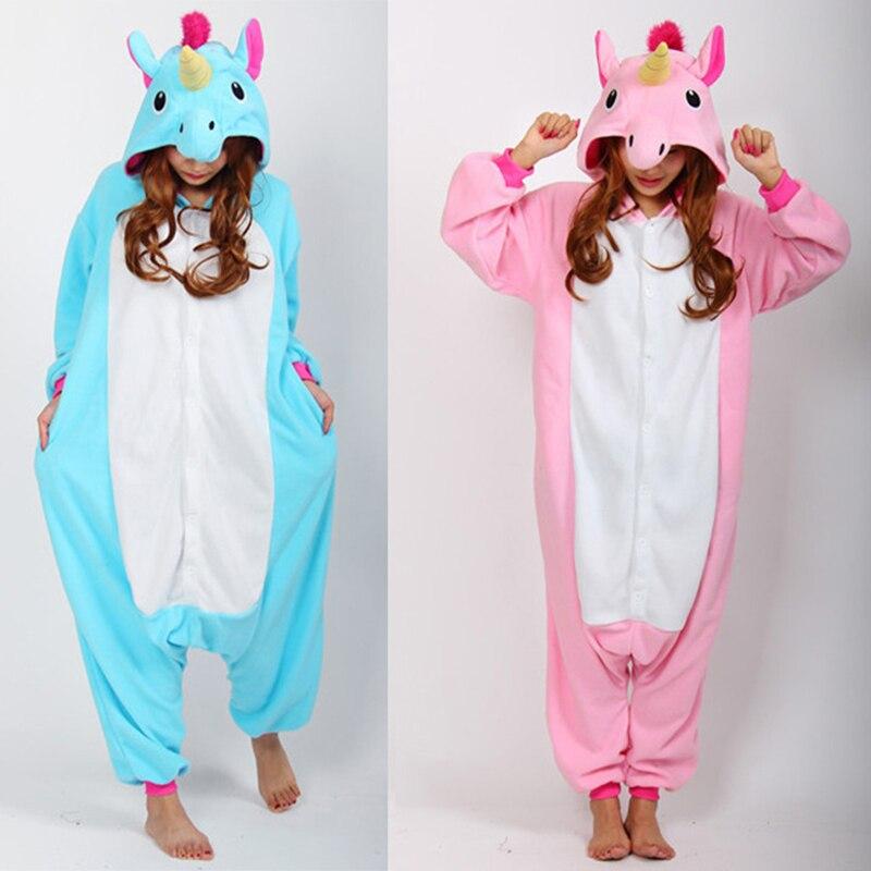 3bbfa7b8a 2016 de La Historieta Unicornio Azul Pijama de Franela Pijamas Para Las  Mujeres Lindo unicornio Animales Adultos Pijamas ropa de Dormir de manga  larga en ...