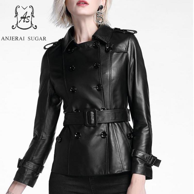 Automne véritable veste en cuir femmes en peau de mouton noir moto femelle OL sexy Mince Double Boutonnage Veste jaqueta couro feminina