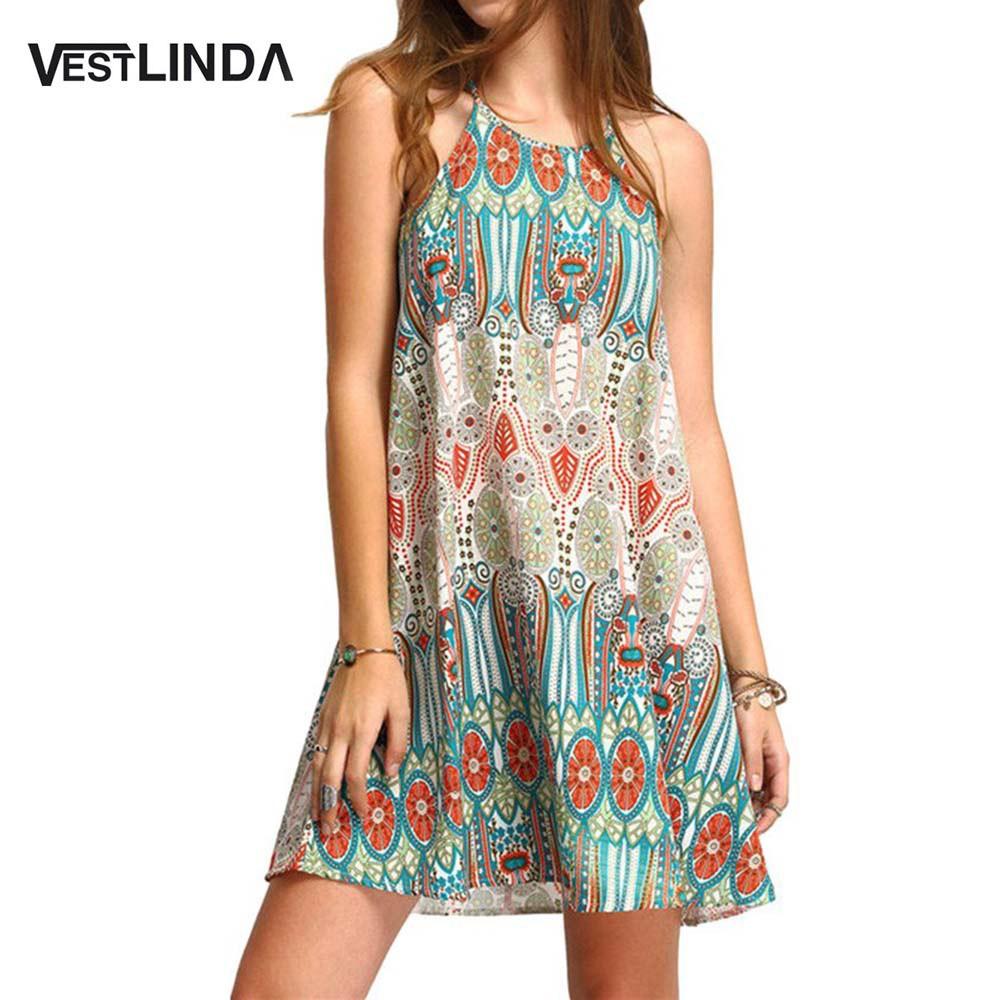 VESTLINDA Summer Women Bohemia Sleeveless Dress Floral Print Spaghetti Strap Mini Beach Dress Boho Hippie Vestidos Sundress