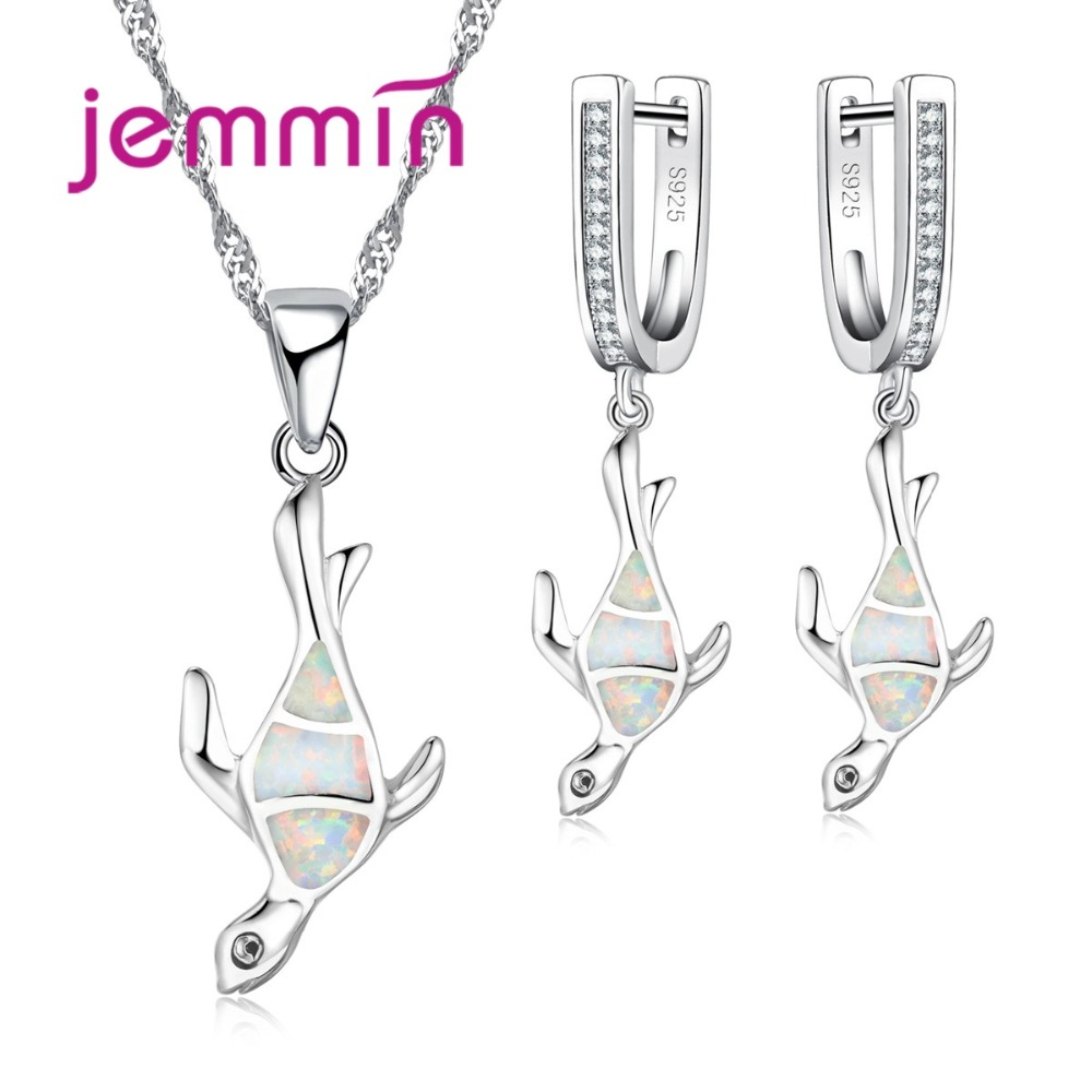 Jemmin New Arrival Animal Jewelry Sets For Girl Birthday Gift Fine White Fire Opal Lady 925 Sterling Silver Necklace EarringsJemmin New Arrival Animal Jewelry Sets For Girl Birthday Gift Fine White Fire Opal Lady 925 Sterling Silver Necklace Earrings