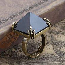 FreeShipping gift Bag Wholesale hotselling crystal Rhinestone fashion jewelry Gothic Pyramid prophecy rings Adjustable size 2090