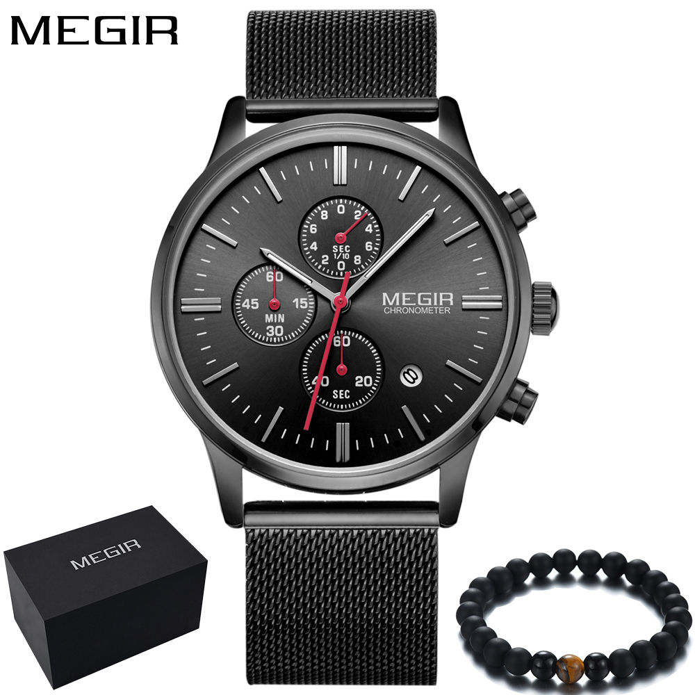 Men's Wrist Watches Chronograph Black Mesh Steel Band Sport Watch For Men Reloj Hombre