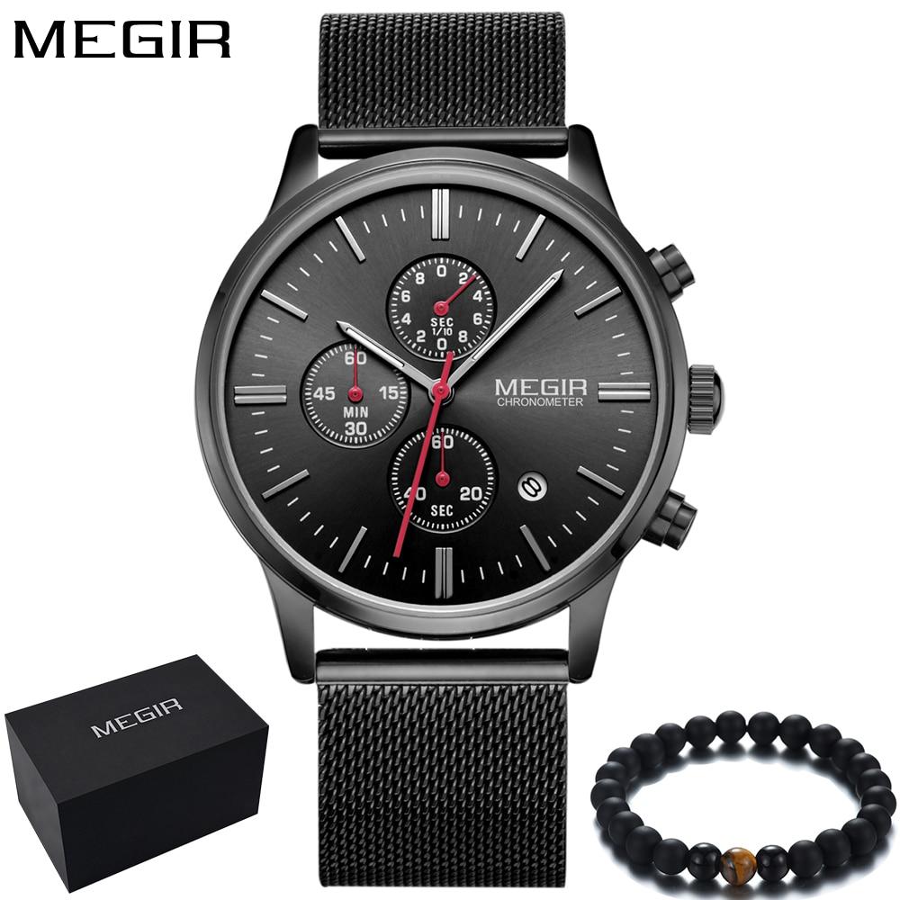 b657d44d0187 Reloj MEGIR de marca de los hombres de la moda de la muñeca relojes  cronógrafo negro de acero de la malla de la banda de deporte reloj de lujo  para hombres ...
