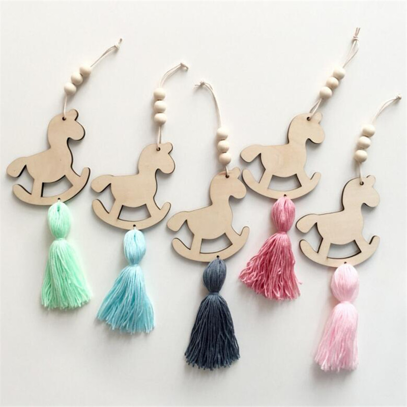Creative Nordic Style Cute Horse Shape Wooden Beads Tassel Pendant Kids Room Decoration Wall Hanging Ornament For Photography
