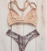 2016 Newest Handmade Plait Bandage Bikini Top Bra Pad Sexy Brazilian Triangle Swimsuit Print Snakeskin Cut