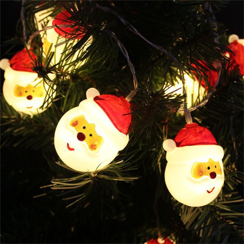1.5M 10 LED White Outdoor String Light Garden Christmas Snow Head Party Fairy Lamp For Home Christmas Garden Decor Drop Ship
