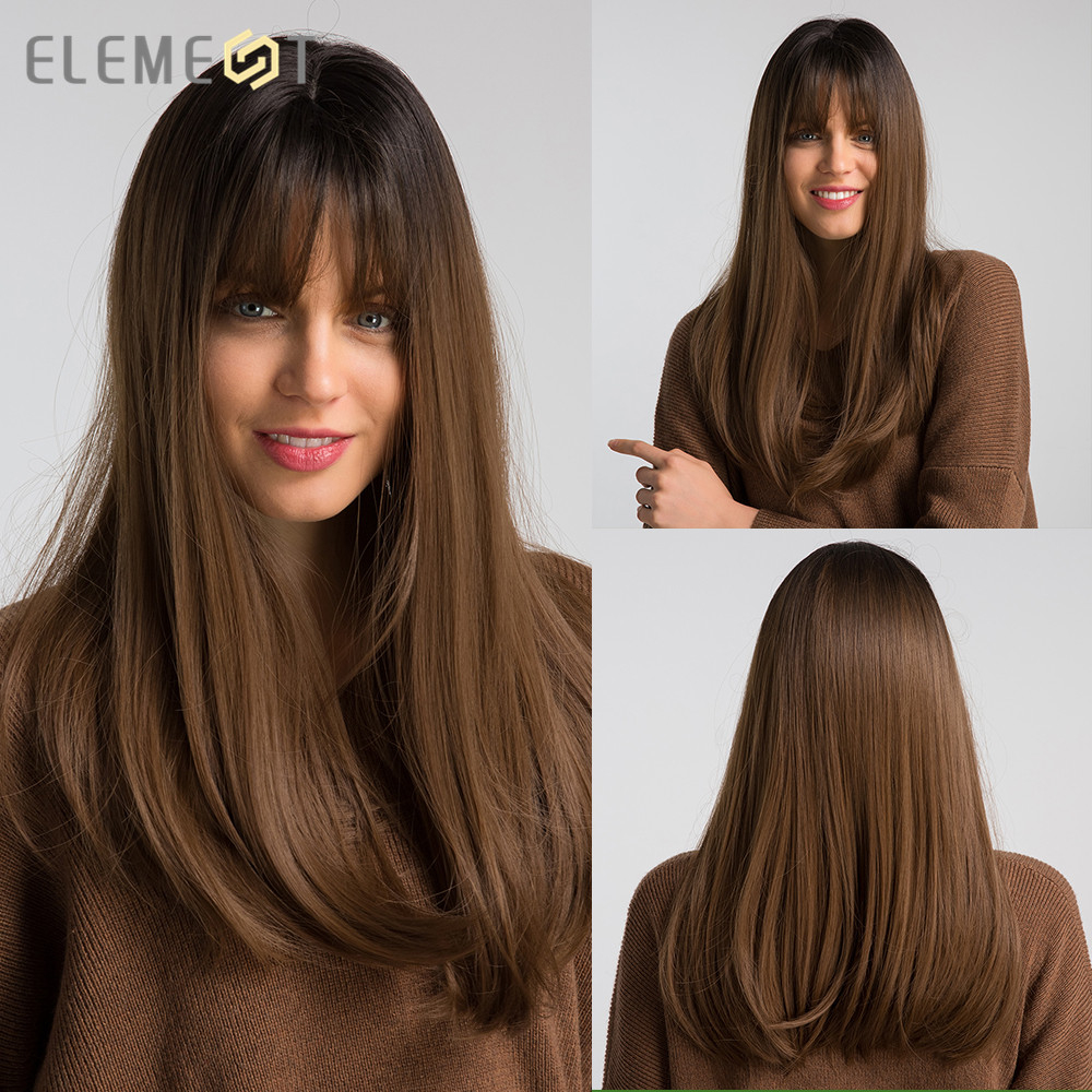 "Element 18"" Long Synthetic Wig With Bangs Dark Root Ombre Color High Density Natural Headline Heat Resistant Hair Wigs For Women"
