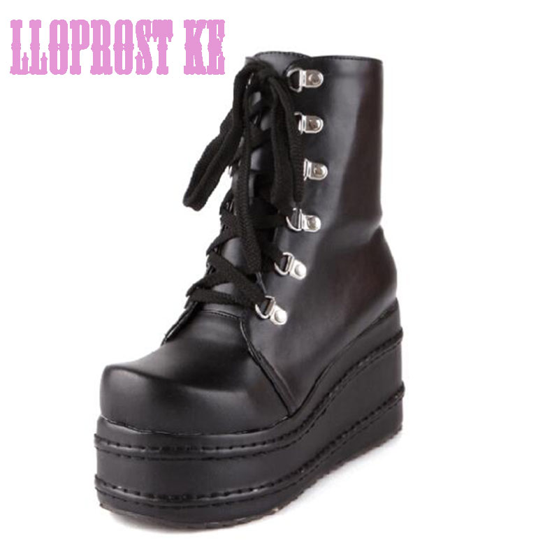 ФОТО new 2014 gothic punk shoes cosplay boots high heel platform sexy zip winter wedges knee high boots free shipping