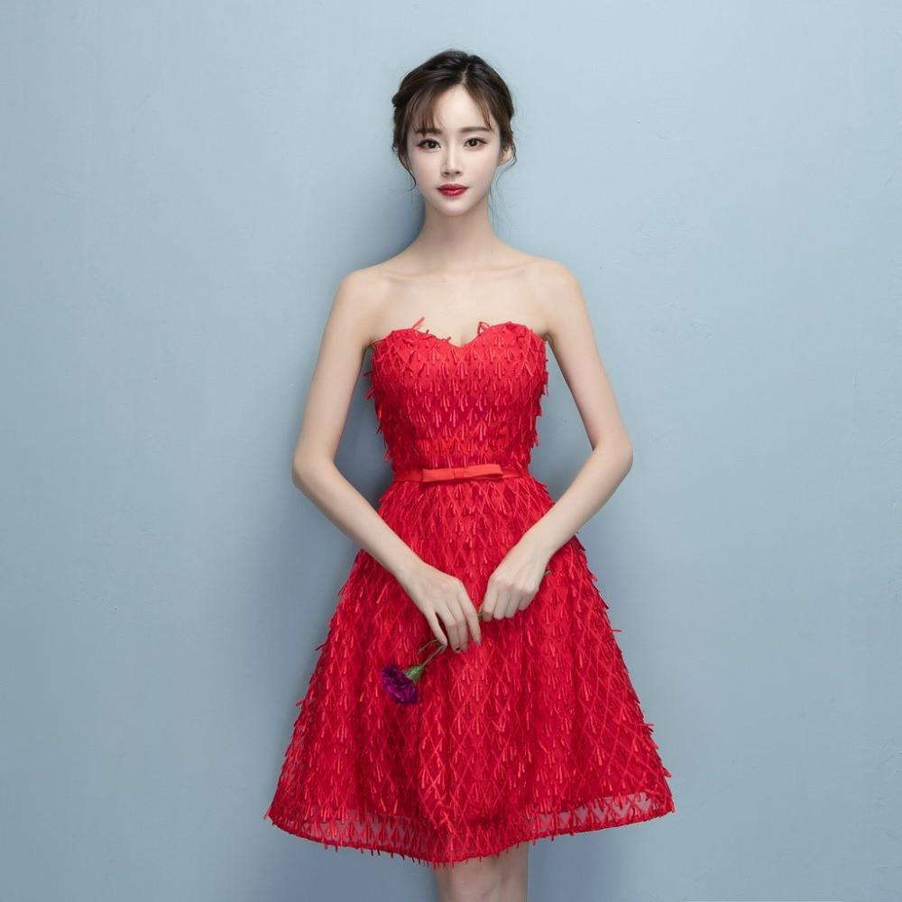 Lamya Short Evening Dresses 2017 Cheap Red Sweet Heart Type Lace ...