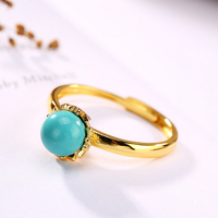 S925 Sterling Silver Natural Turquoise Ring for Women Open Ring Wholesale