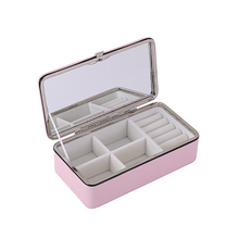 Portable Korean Jewelry Box Organizer Travels Faux leather Ring Bracelet Earring Necklace Display Storage Box Case цена и фото