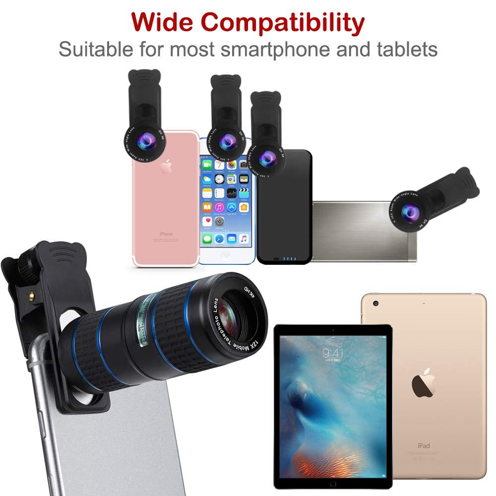 Mise à niveau des kits de caméra de téléphone DSLR Lent: Super Fisheye & 0.36X grand Angle & 15X Macro objectif (2 objectifs) & 12X Zoom téléobjectif pour Android - 4