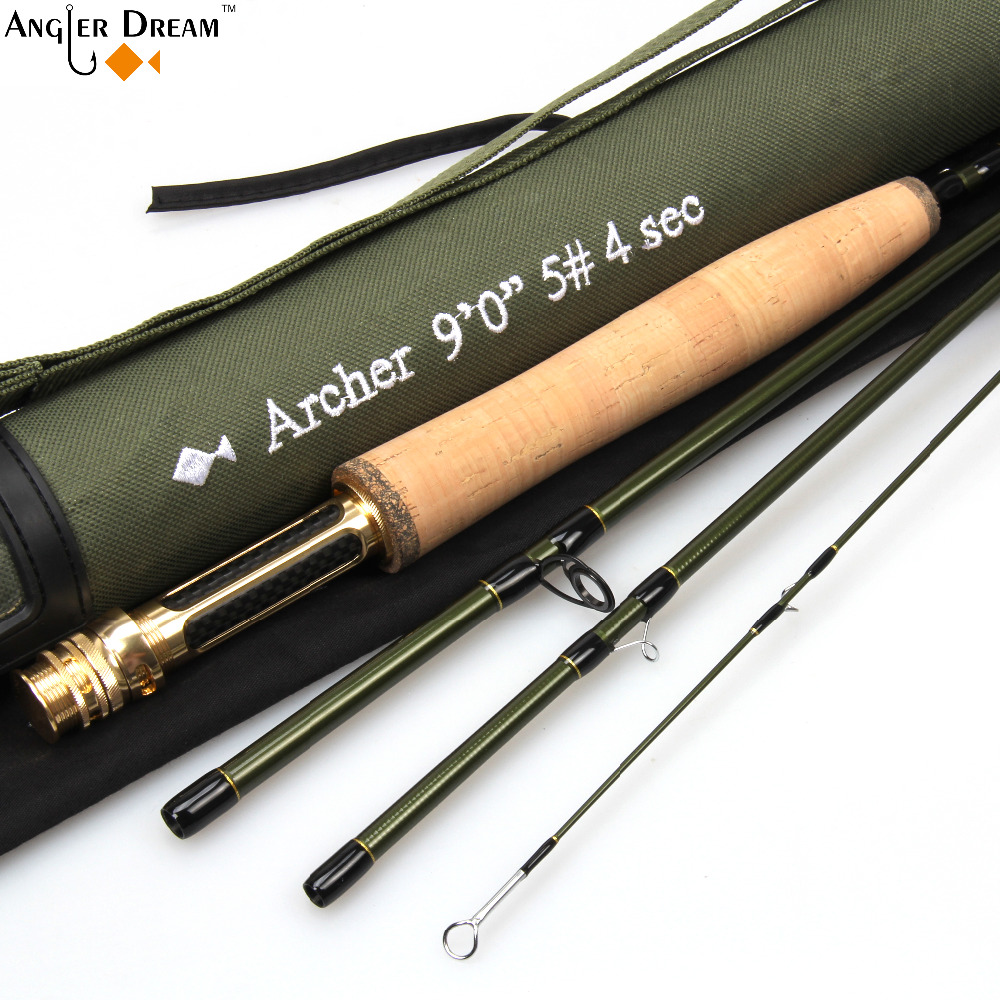 3/4/5/8 WT Fly Rod Fast Action 36T Fibră de carbon / Graphite IM10 7.5 / 8.3 / 9FT Fly Rod de pescuit cu tub Cordura
