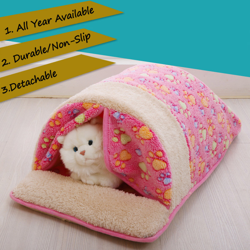 Pet Dog Bed House Nest Detachable Print Cat Sleeping Bag Foldable Kitten House For Small Medium Dogs Cats Travel Pet Cave Bags