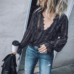 Черные Ретро офисные женские Бохо хиппи повседневные рубашки с длинным рукавом с v-образным вырезом в полоску Сексуальные Длинные