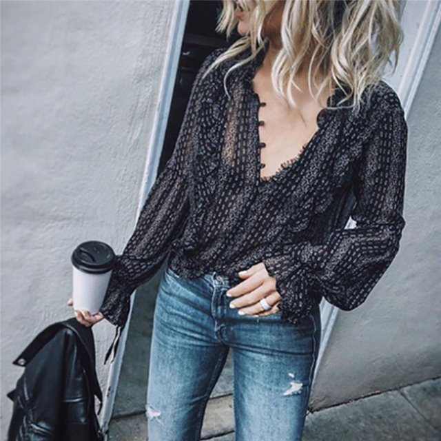 Casual Long Sleeve V-Neck Striped Blouses