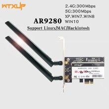 WTXUP ثنائي النطاق Atheros AR9280 AR5BDT92 802.11a/b/g/n 300Mbps بطاقة واي فاي PCI express PCI e واي فاي محول لسطح المكتب لينكس/ماك