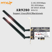 WTXUP Dual band Atheros AR9280 AR5BDT92 802.11a/b/g/n 300Mbps WIFI Scheda PCI express PCI E adattatore WiFi Per Desktop Linux/MAC