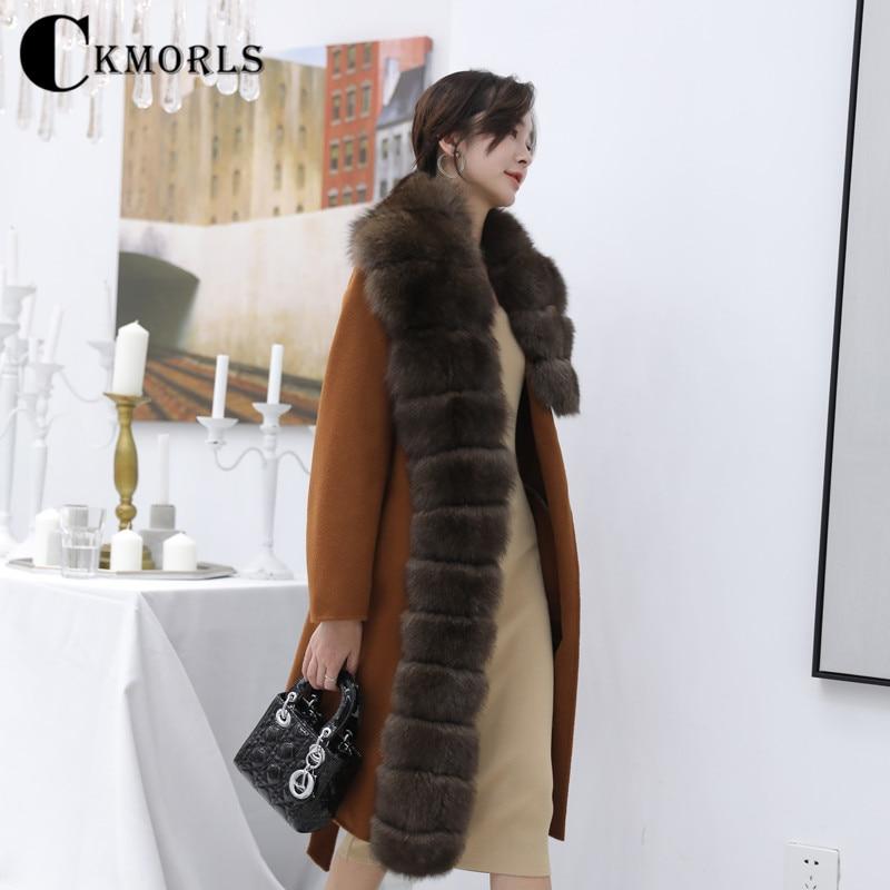 Col De Renard Femme Ckmorls Femmes Pour Street D'hiver Laine Manteau w0CIqCd