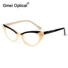Gmei אופטי אופנה חתול עין Eyewear אצטט מלא רים נשים מרשם משקפיים מסגרת Cateye משקפיים T8057