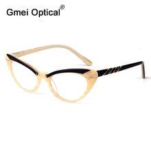 Gmei optik moda kedi gözü gözlük asetat tam jant kadın reçete gözlük çerçevesi Cateye gözlük T8057
