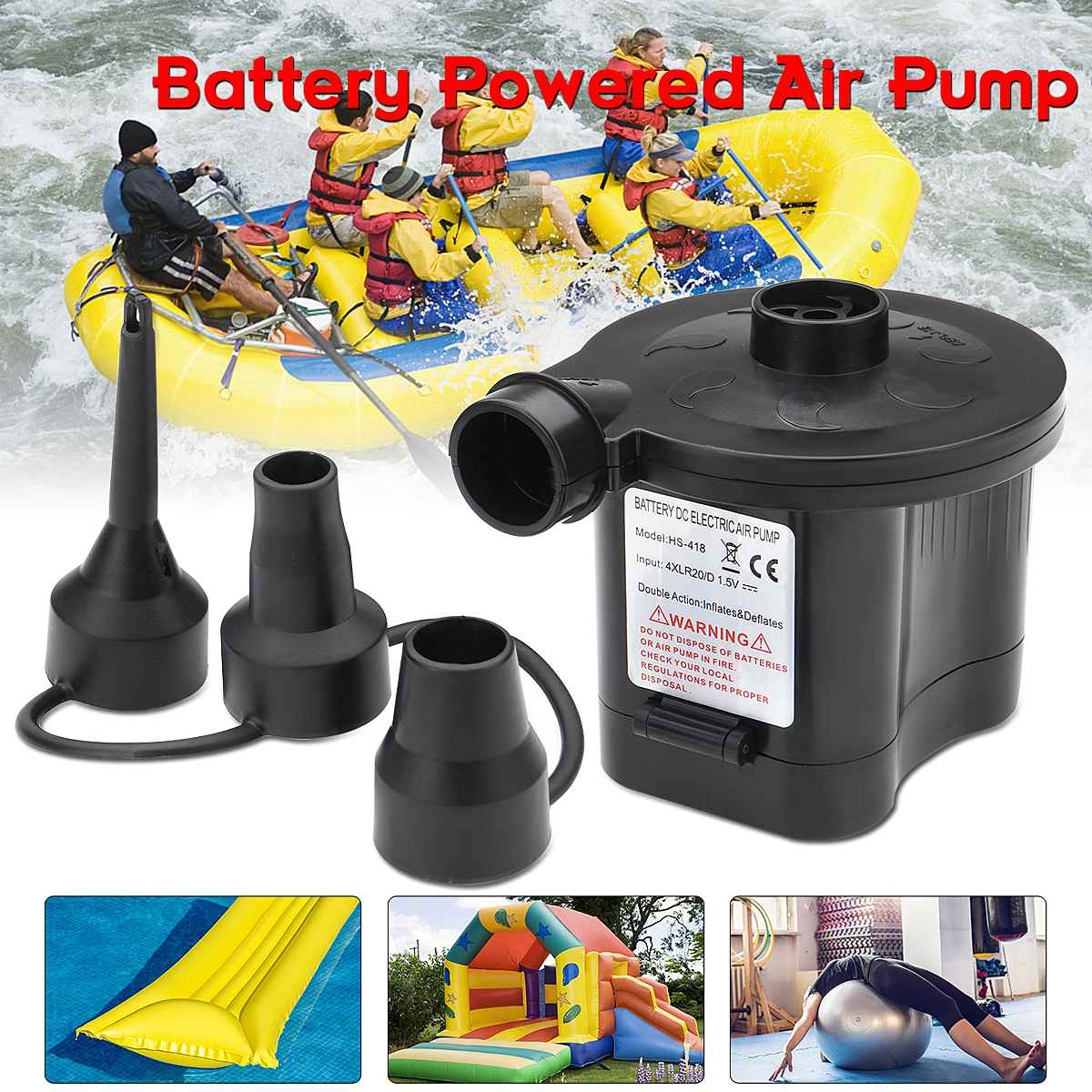 Battery Powered 6V Electric Air Pump Inflator Toys Boat Air Bed Pump 3 Nozzles