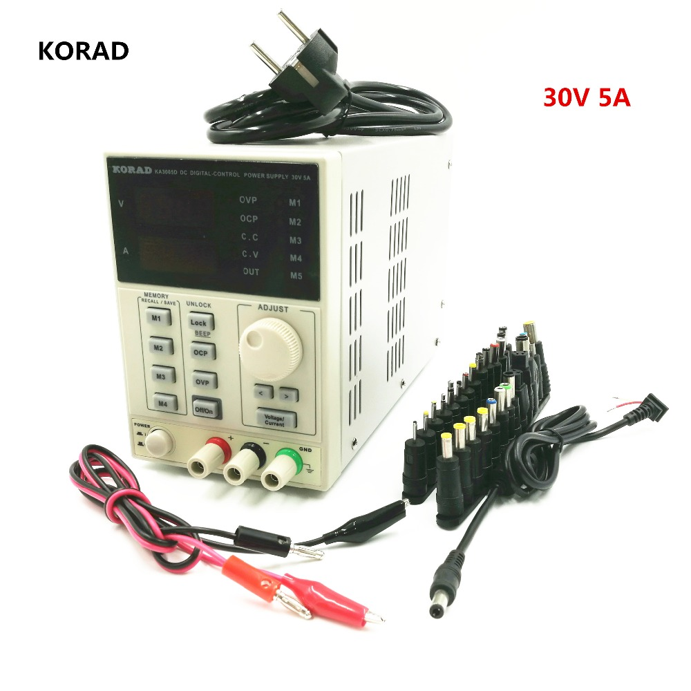 DC Adjustable Power Supply KA3005D, Output 0-30V / 0-5A 5-Group Digital Storage With 28 pcs Power Output Line And Adapter Plug adjustable power supply ka3005d precision adjustable 30v 5a dc linear digital voltage regulator power supply free shipping