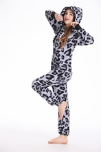 Nordic Way Leopard Print All In One Piece Jumpsuit Hoodie Fleece Zip Unisex Women Men Romper