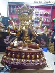 """40 """"Китай позолоченная бронза finely 3 face 8 arm MAHAPRATISARA скульптура Будды статуя сад бронза медь украшение настоящая латунь"""