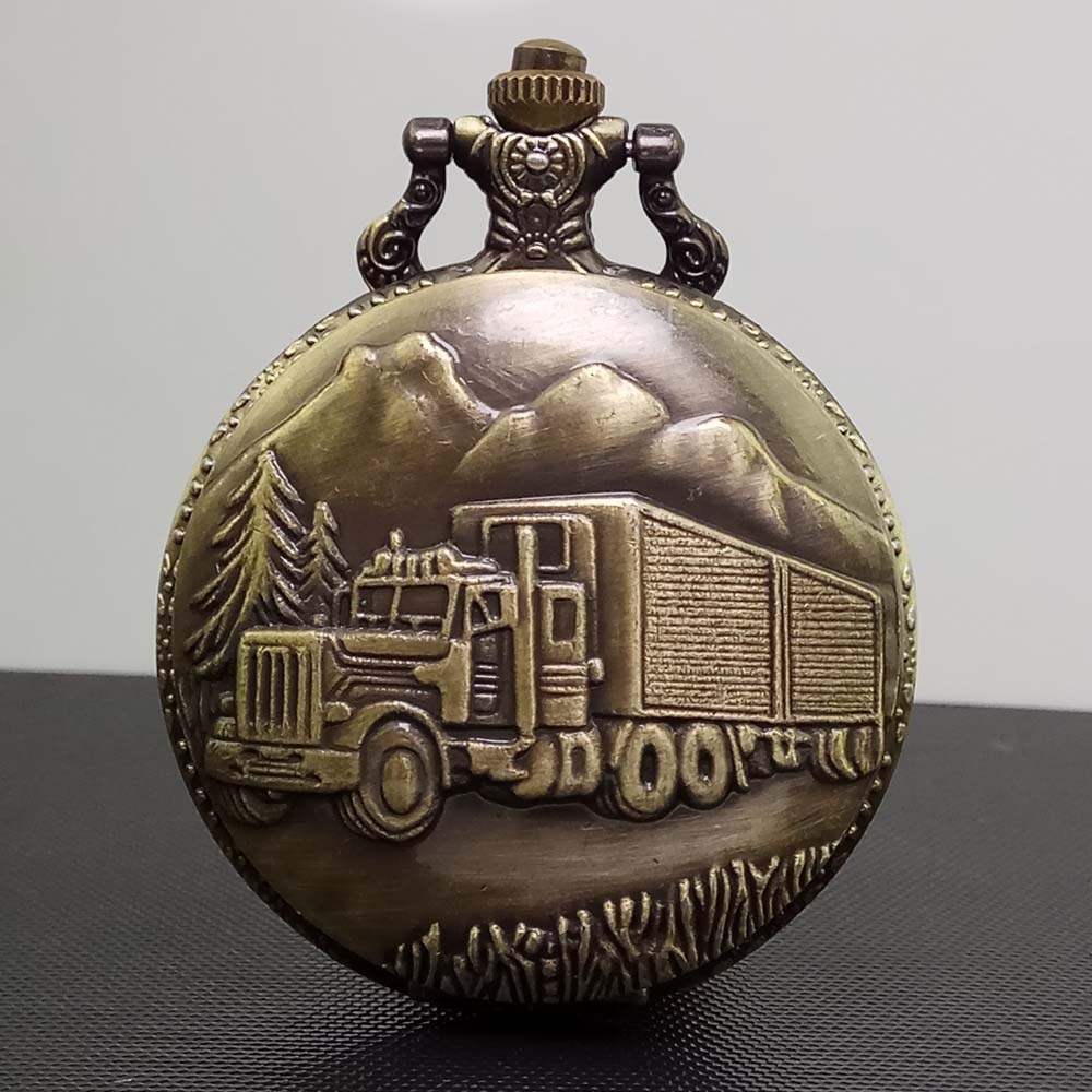 цена на Cindiry Antique Retro Bronze Car Truck Design Quartz Pocket Watch Necklace Pendant Gift With Chain New P30
