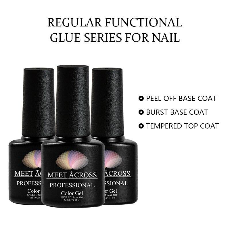 MEET ACROSS 7ml Peel Off Gel Base Coat No Need Remover Water Soak Off Nail Art UV Primer Gel Nail Polish Top Coat Polish Lacquer in Nail Gel from Beauty Health