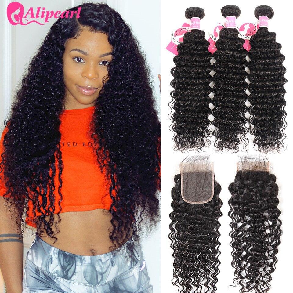 HTB1mGiIaoLrK1Rjy1zbq6AenFXaU AliPearl Hair Deep Wave Bundles With Lace Closure Human Hair Brazilian Hair Weave 3 Bundles With Closure Remy Hair Extension
